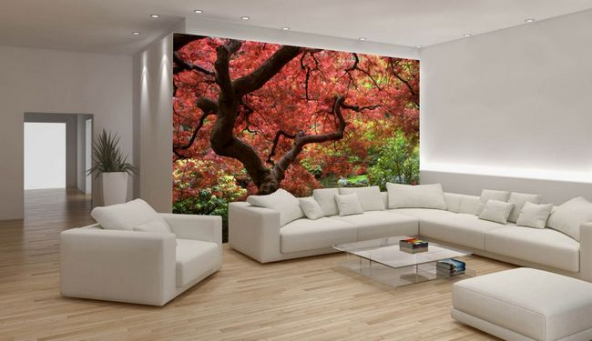 Фотообои в дизайне интерьера гостиной