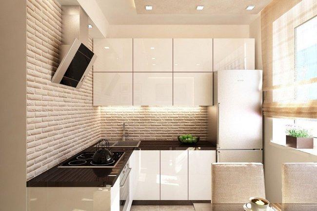 Светлые оттенки увеличивают пространство маленькой кухни по сравнению с темной цветовой гаммой