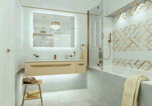 Керамическая плитка Alta Cera Oxford в интерьере ванной комнаты